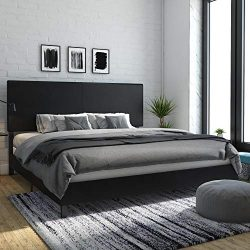 DHP 4156049 Janford Upholstered Bed, King, Black