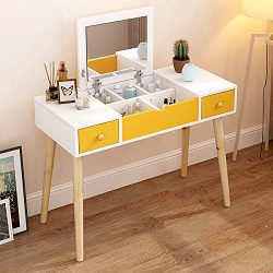 Dressing Table, Multifunctional Makeup Table Wood Vanity Set with Flip Top Mirror Writing Desk w ...