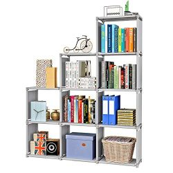 Firstry 9 Storage Cubes, 4 Tire Shelving Bookcase Cabinet, DIY Closet Organizers for Living Room ...