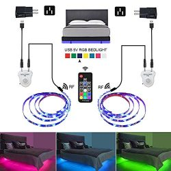 Under Bed Lights,LEHOU 6.56ftX2 Motion Activated Illumination RGB Include Warm Color LED Strip L ...