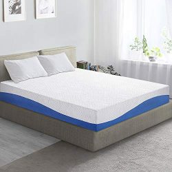 "PrimaSleep Wave Gel Infused Memory Foam Mattress, 10"" H, King, Blue"