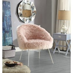 Ana Rose Fur Accent Chair – Metal Legs | Upholstered | Living Room, Entryway, Bedroom | In ...
