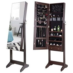 Nicetree Jewelry Cabinet with Full-Length Mirror, Standing Lockable Jewelry Armoire Organizer, 3 ...