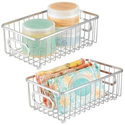 mDesign Metal Bathroom Storage Organizer Basket Bin – Modern Wire Grid Design – for  ...