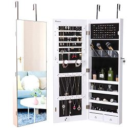 Nicetree Jewelry Cabinet, Jewelry Armoire Organizer with Full Screen Mirror, Wall/Door Mounted,  ...