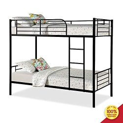 Romatlink Bunk Bed Frame Black Finished Twin Bedstock with Ladder and Guardrail, Fits for Univer ...