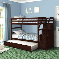 Bunk Bed for Kids Wood Bed Twin-Over-Twin Trundle Bunk Bed with Storage Drawers