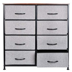 Extra Wide Fabric Storage Organizer Clothes Drawer Double Dresser with Sturdy Steel Frame, Woode ...