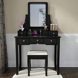 Vanity Set Makeup Vanity Desk Dressing Table with Mirror, Drawers and Stool for Corner Bedroom,  ...