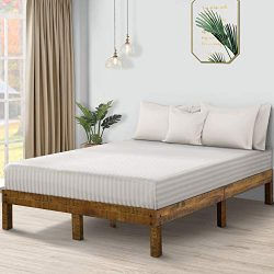 PrimaSleep PR14SF01Q-1 14 Inch Solid Wood Platform Bed Frame, Anti-Slip Support, Simple, No Box  ...