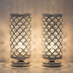 HAITRAL Crystal Table Lamps – Modern Bedside Desk Lamps Set of 2, Small Nightstand Lamps f ...