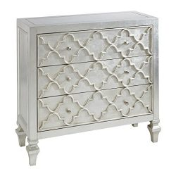 Madison Park MP130-0157 Somerset Wood, Metal Living Room Storage Carved Ogee Pattern, Modern Sty ...