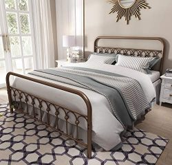 Vintage Sturdy Queen Size Metal Bed Frame with Headboard and Footboard Basic Bed Frame No Box Sp ...