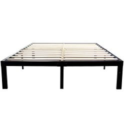 14 Inch Metal Platform Bed Frames / Wood Slat Support / No Box Spring Needed / 3500 lbs Heavy Du ...