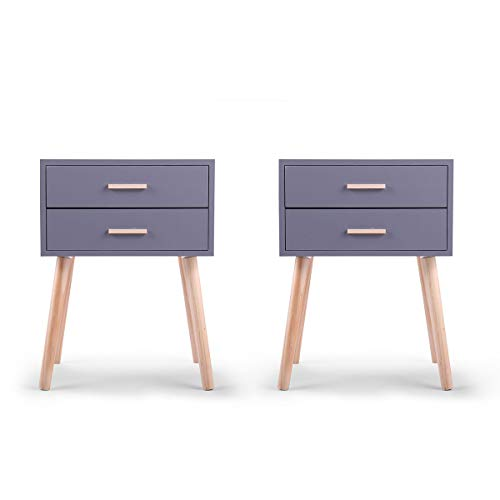 JAXPETY Set of 2 Side End Table Nightstand w/2 Drawers Storage (Grey)
