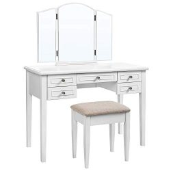 VASAGLE Vanity Set with Tri-Fold Mirror, Dressing Table with 5 Drawers, Desk with 1 Stool, Makeu ...