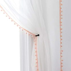 Selectex Linen Look Pom Pom Tasseled Sheer Curtains – Rod Pocket Voile Curtains for Living ...