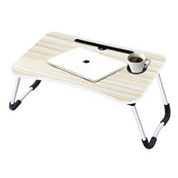 Laptop Desk,Laptop Bed Tray Table Large Foldable Laptop Notebook Stand Desk with Ipad and Cup Ho ...