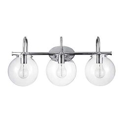 Globe Electric 51235 Milan 3-Light Vanity Light, Chrome, Clear Glass Shades