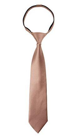 Spring Notion Boys' Satin Zipper Neck Tie with Gift Box Meduim Pink Copper