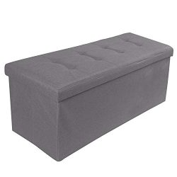 REDCAMP 43″(160L) Linen Storage Ottoman Bench, Folding Large Ottoman Foot Rest for Bedroom ...