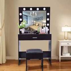 shamoluotuo Makeup Vanity Table Set with Lighted Mirror, Dressing Table with12 Lights and 1 Draw ...