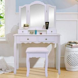 JAXPETY Vanity Table Set with Mirrors and Cushioned Stool Makeup Dressing Table (3 Tri Mirror 4  ...