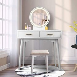 Vanity Table Set with Lighted LED Touch Screen Dimming Round Mirror,Makeup Dressing Table with 2 ...