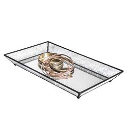 Vanity Tray Mirrored Bottom Vintage Glass Decorative Bathroom Makeup Organizer Jewelry Display P ...