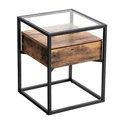 VASAGLE Industrial Side Table, Nightstand, Tempered Glass End Table, with Drawer and Rustic Shel ...