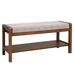 VASAGLE Solid Wood Shoe Bench for 4 Pairs, Upholstered Shoe Rack with Storage Shelf, 1 Hook, Hol ...