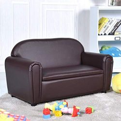 Costzon Kids Sofa, Upholstered Couch, Sturdy Wood Construction, Armrest Chair for Preschool Chil ...
