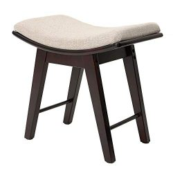 IWELL Vanity Stool with Rubberwood Legs, Makeup Bench Dressing Stool, Padded Cushioned Chair, Ca ...