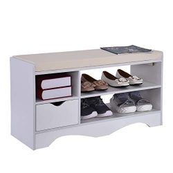 Storage Bench Shoes Rack W/Removable Seat Cushion Entryway Shoe Cabinet Storage, 2-Tier & 1- ...