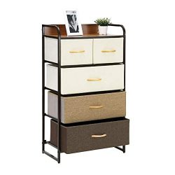 Kamiler 5-Drawer Dresser, 4-Tier Storage Organizer, Tower Unit for Bedroom, Hallway, Entryway, C ...