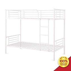 Romatlink Bunk Bed Frame, White Finished Metal Twin Bedstock with Ladder and Guardrail, Fits for ...