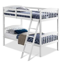 Costzon Twin Over Twin Bunk Beds, Convertible Into Two Individual Solid Wood Beds, Children Twin ...