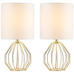 COTULIN Set of 2 Modern Style Gloden Hollowed Out Base Living Room Bedroom Small Table Lamp,Beds ...