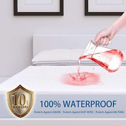 ZAMAT Premium 100% Waterproof Mattress Protector, Breathable & Noiseless Mattress Pad Cover, ...
