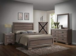 GTU Furniture Large Scale Rustic Wooden Grey 4Pc Queen Bedroom Set(Q/D/M/N)