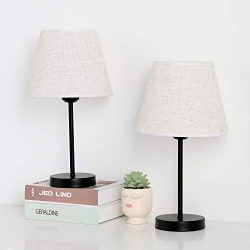 Table Lamp for Bedrooms, Small Bedside Desk Lamps Set of 2, Black Metal Nightstand Lamp with Lin ...