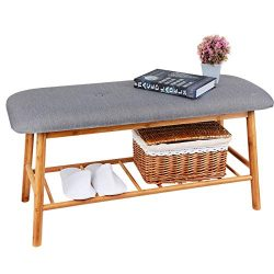 Shoe Rack Bench Ottoman Upholstered – Grey Padded Cushion Bamboo Storage Seat Shelf Free S ...
