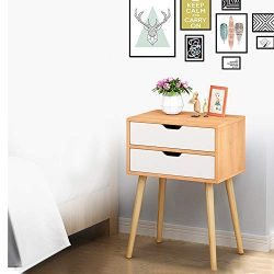 Beyonds Bedside Table with 2 Drawers, Wooded End Table Bedside Cabinet, Home Storage Unit, Night ...
