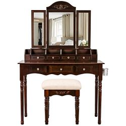 Vanity Table Set, Sunix Vanity Dressing Table with Cushioned Stool, 7 Drawers, Wood