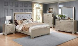 GTU Furniture Contemporary Metallic Gold and Silver Style Wooden 5Pc Queen Bedroom Set(Q/D/M/N/C)