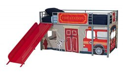 DHP Junior Silver Metal Loft Bed with Red Slide and Fire Department Curtain Set, Kids Furniture, ...