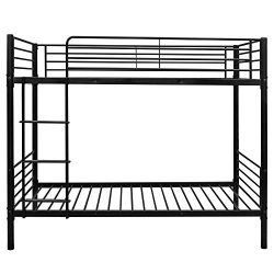 Bonnlo Metal Bunk Bed Twin Over Twin Bed Frame with Safety Guard Rails & Flat Ladder for Kid ...