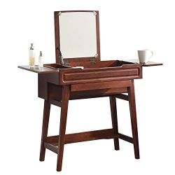 Vlush Vanity Makeup Table with Flip Top Mirror Solid Rubber Wood Dressing Table Writing Desk, 6  ...