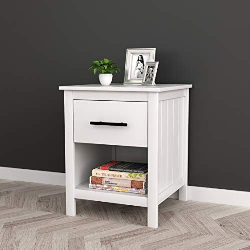 White Finish Nightstand Side End Table with Drawer and Open Shelf 22″ H