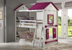 DONCO 1570-TTWP Twin Sweetheart Bunk Bed BUNKBED Twin/Twin White/Pink
